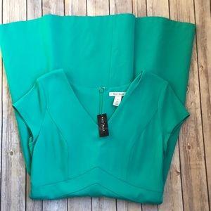 WHBM Spectra green short sleeve pointe dress